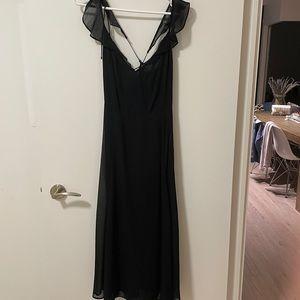 Reformation Black Cross Back Chiffon Dress